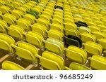 Yellow stadium seats - stock photo