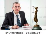 Lawyer or notary public at contemporary office - stock photo