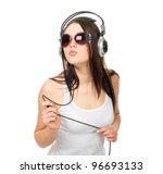 beautiful girl listens to music ...   Shutterstock . vector #96693133