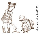 Two Cute Children Hand Drawn I...