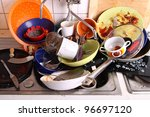 huge heap of dirty dishes... | Shutterstock . vector #96697120