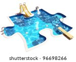 Stock photo pool in the form of a puzzle d illustration of a swimming pool 96698266