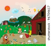 farm animals illustration with... | Shutterstock . vector #96704617
