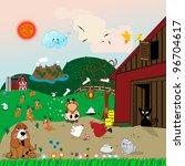 farm animals illustration with...   Shutterstock . vector #96704617