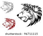 angry heraldic lion with laurel ... | Shutterstock .eps vector #96711115