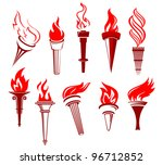 set of flaming torches isolated ...