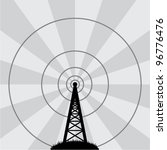 vector illustration of radio tower - stock vector
