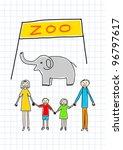 family in zoo | Shutterstock .eps vector #96797617