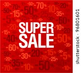 Super sale background with percent discount pattern on a bright red backdrop, fashion banner - stock vector