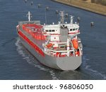 a freighter on Kiel Canal, Germany - stock photo