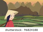 Asian woman smiling while working in rice fields at sunset with mountains behind - stock vector