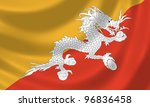Flag Of Bhutan Waving In The...