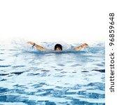 Man Swims In Swimming Pool