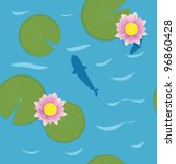 Fish With Water Lotus. Vector...