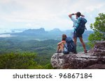 backpackers on top of a... | Shutterstock . vector #96867184