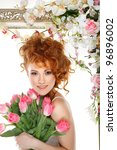 beautiful redheaded girl with... | Shutterstock . vector #96896002