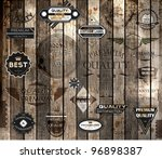 vector set of calligraphic design elements, page decoration, Premium Quality and Satisfaction Guarantee Label collection, Vintage wood background