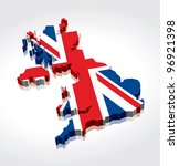 3d Flag Map Of The Uk  United...