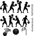 basketball players silhouettes... | Shutterstock .eps vector #96924518
