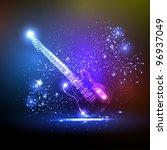 neon light guitar  grunge music | Shutterstock .eps vector #96937049