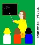 teacher  teaching students. | Shutterstock .eps vector #969416