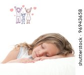 High key concept portrait of sweet little girl dreaming. Isolated on white background. - stock photo