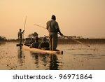 sailing in traditional mokoro...   Shutterstock . vector #96971864