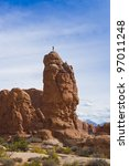 Climber on the Rock in Arches National Park. Utah, USA - stock photo