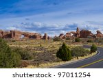 Road in Arches National Park. Utah, USA - stock photo