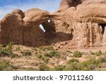Double Arch near Moab in Arches National Park, Utah, USA - stock photo