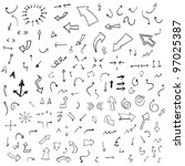 vector hand drawn arrows set | Shutterstock .eps vector #97025387