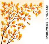 autumn oak tree branch on... | Shutterstock .eps vector #97026530