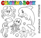 coloring book various sea... | Shutterstock .eps vector #97035608