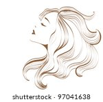 woman face with long hair | Shutterstock . vector #97041638