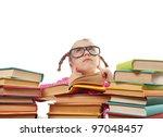a little girl in glasses...   Shutterstock . vector #97048457