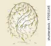 stylized easter egg with floral ... | Shutterstock .eps vector #97051145