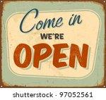vintage metal sign   open  ... | Shutterstock .eps vector #97052561