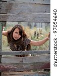 beautiful girl with shawl near... | Shutterstock . vector #97054640