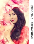 Beautiful Girl in Elegant Flowers - stock photo