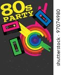 retro poster   80s party flyer... | Shutterstock .eps vector #97074980