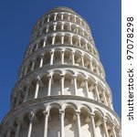 Leaning Tower of Pisa. Close up. - stock photo