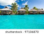 over water bungalows with steps ...   Shutterstock . vector #97106870