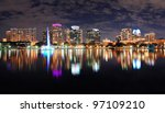 orlando lake eola panorama with ... | Shutterstock . vector #97109210