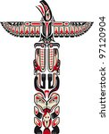 haida style totem pattern... | Shutterstock .eps vector #97120904