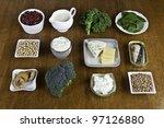 food sources of calcium | Shutterstock . vector #97126880