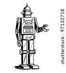 robot man   retro clipart... | Shutterstock .eps vector #97132718