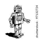 Retro Robot - Clipart Vintage Robot Drawing