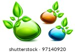 spring bubble speech with green ... | Shutterstock .eps vector #97140920
