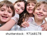 group of happy smiling children ... | Shutterstock . vector #97168178
