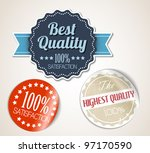 Old vector round retro vintage grunge stickers - best quality - stock vector